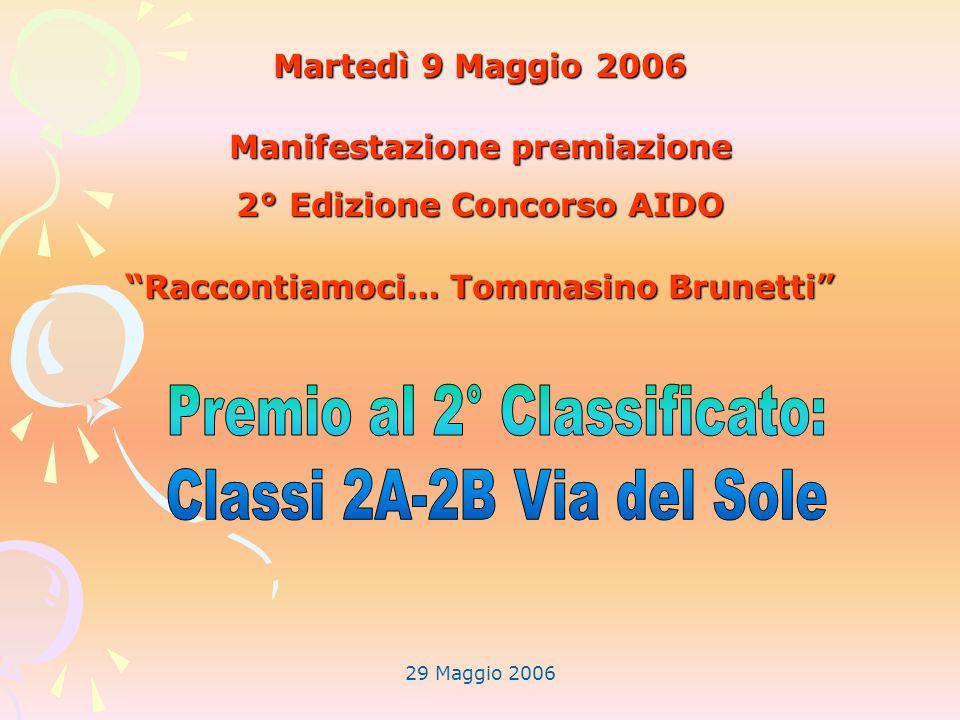 29 Maggio 2006 Martedì 9 Maggio 2006 Manifestazione premiazione 2° Edizione Concorso AIDO Raccontiamoci… Tommasino Brunetti