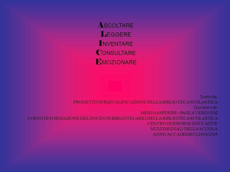A SCOLTARE L EGGERE I NVENTARE C ONSULTARE E MOZIONARE Tratto da: PROGETTO DI RIQUALIFICAZIONE DELLA BIBLIOTECA SCOLASTICA Tesi breve di: MERI GASPERI