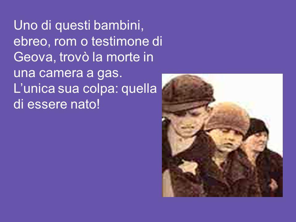 Uno di questi bambini, ebreo, rom o testimone di Geova, trovò la morte in una camera a gas.
