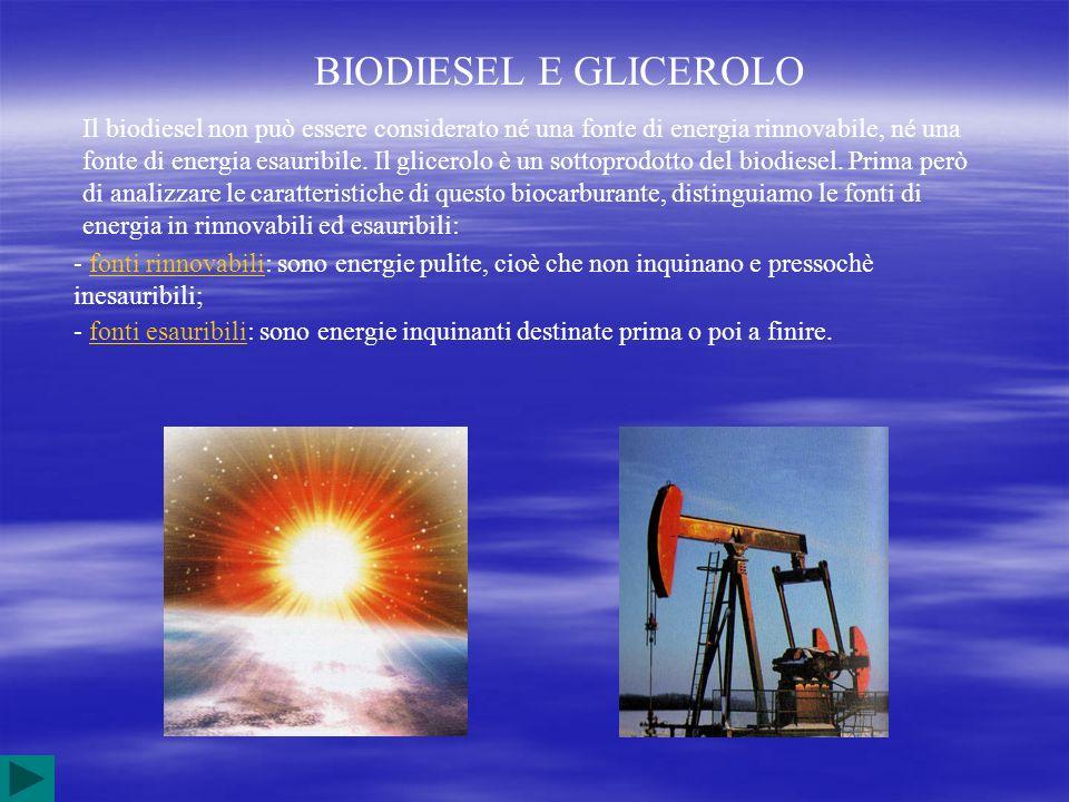 BIODIESEL E GLICEROLO Il biodiesel non può essere considerato né una fonte di energia rinnovabile, né una fonte di energia esauribile. Il glicerolo è