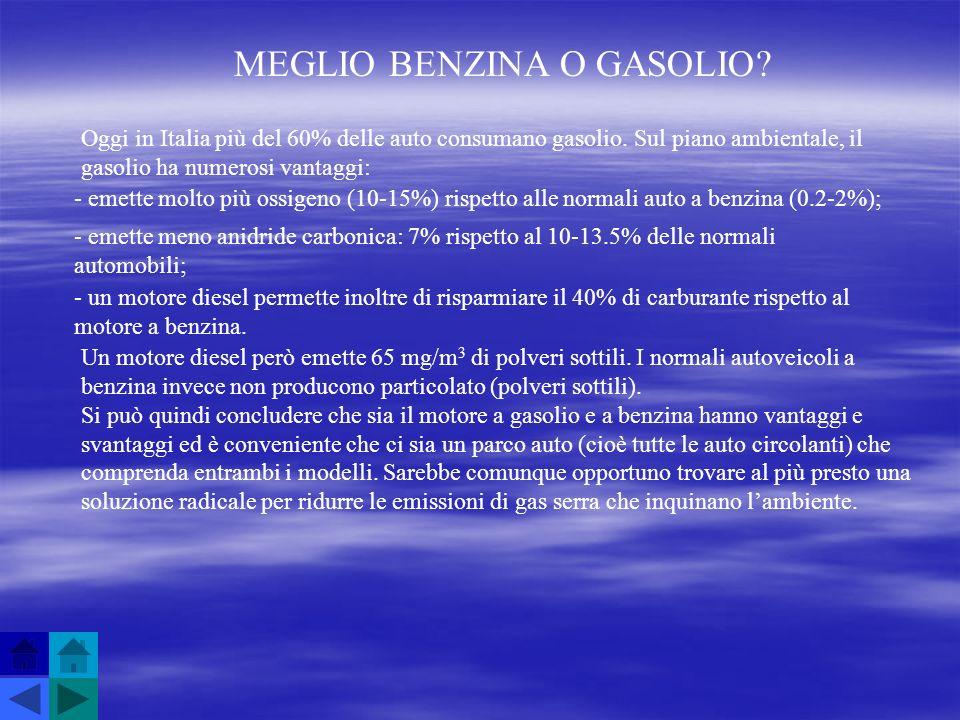 MEGLIO BENZINA O GASOLIO? Oggi in Italia più del 60% delle auto consumano gasolio. Sul piano ambientale, il gasolio ha numerosi vantaggi: - emette mol