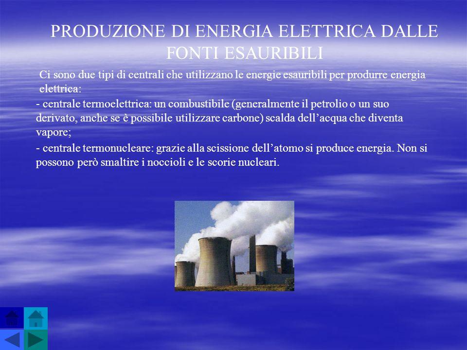 PRODUZIONE DI ENERGIA ELETTRICA DALLE FONTI ESAURIBILI Ci sono due tipi di centrali che utilizzano le energie esauribili per produrre energia elettric