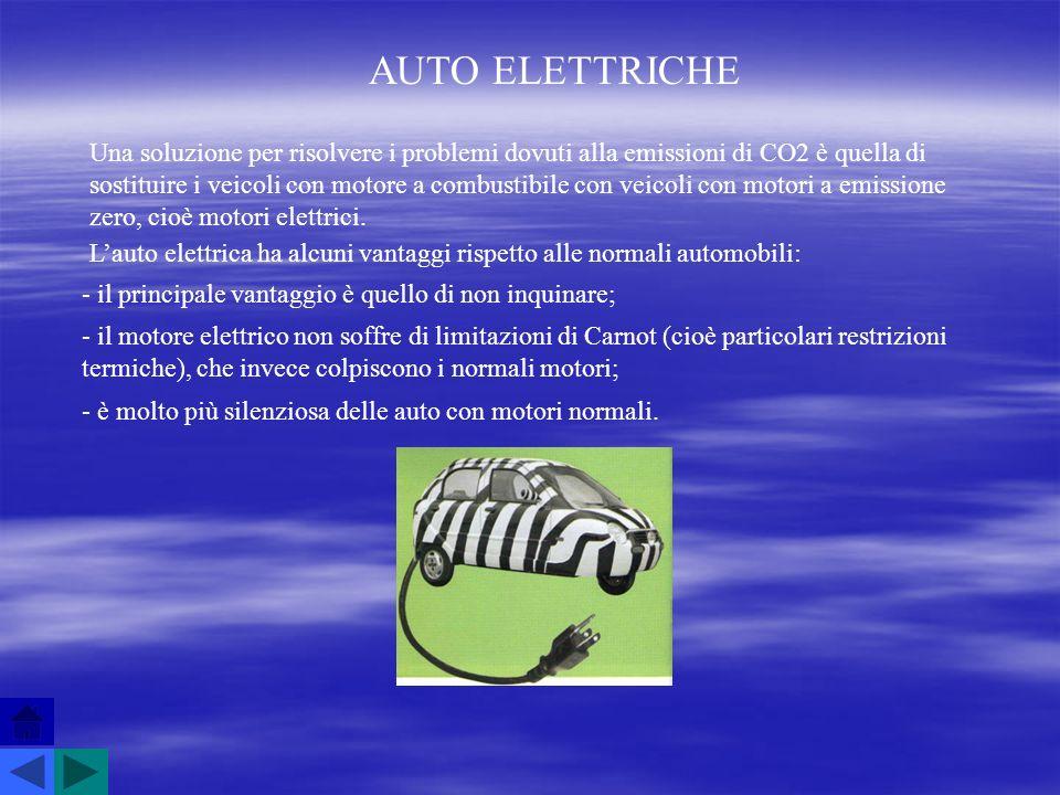 AUTO ELETTRICHE Una soluzione per risolvere i problemi dovuti alla emissioni di CO2 è quella di sostituire i veicoli con motore a combustibile con vei