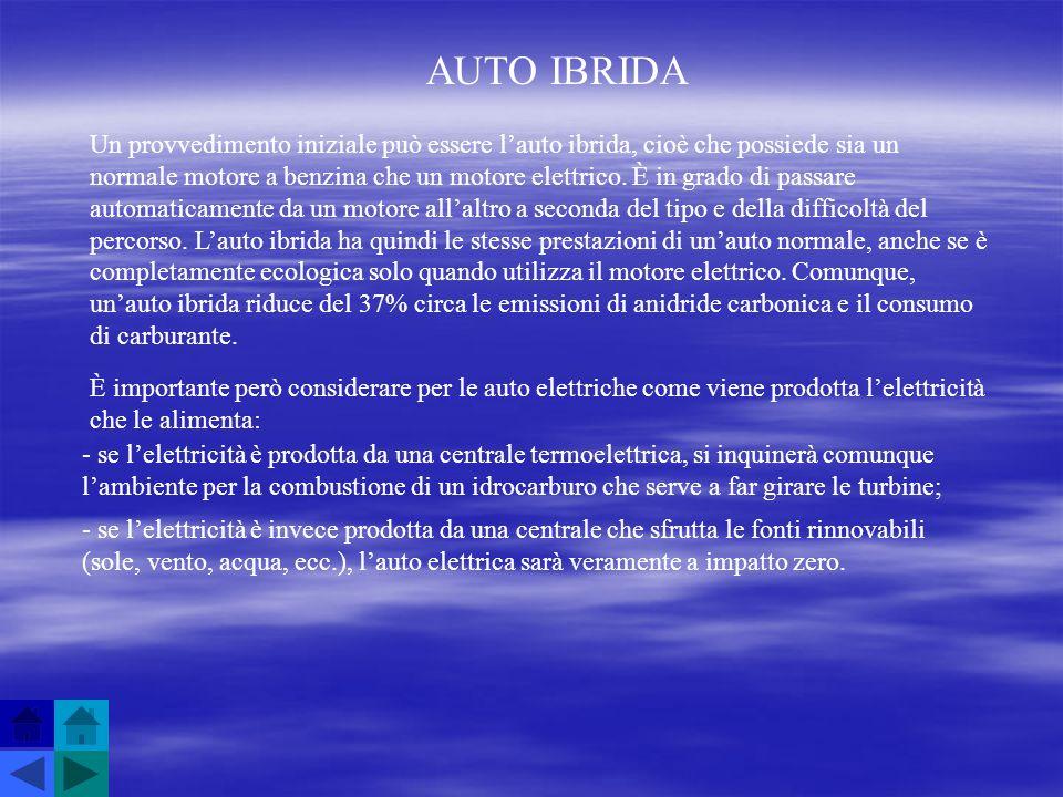 AUTO IBRIDA Un provvedimento iniziale può essere lauto ibrida, cioè che possiede sia un normale motore a benzina che un motore elettrico. È in grado d