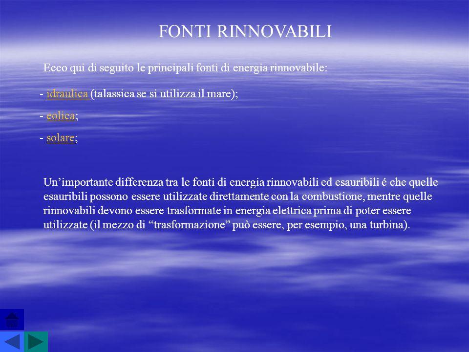 FONTI RINNOVABILI Ecco qui di seguito le principali fonti di energia rinnovabile: - idraulica (talassica se si utilizza il mare);idraulica - eolica;eo