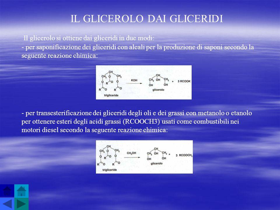 IL GLICEROLO DAI GLICERIDI Il glicerolo si ottiene dai gliceridi in due modi: - per saponificazione dei gliceridi con alcali per la produzione di sapo