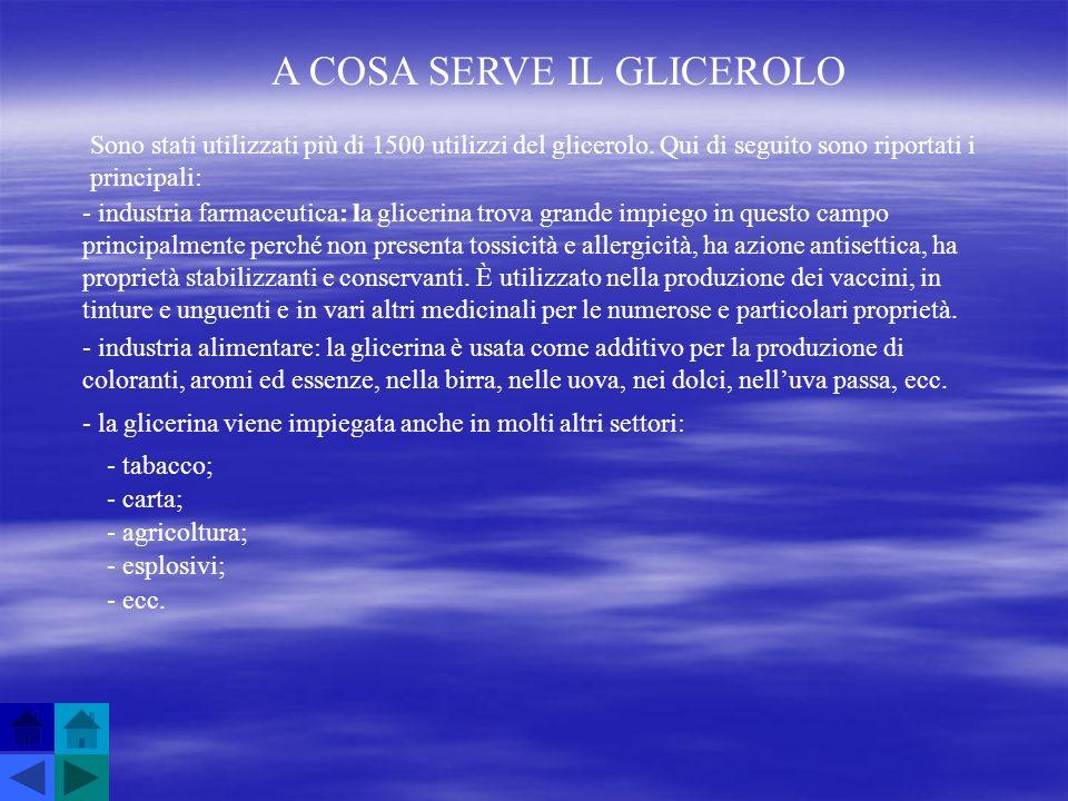 A COSA SERVE IL GLICEROLO Sono stati utilizzati più di 1500 utilizzi del glicerolo. Qui di seguito sono riportati i principali: - industria farmaceuti