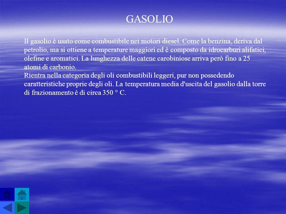 GASOLIO Il gasolio è usato come combustibile nei motori diesel. Come la benzina, deriva dal petrolio, ma si ottiene a temperature maggiori ed è compos