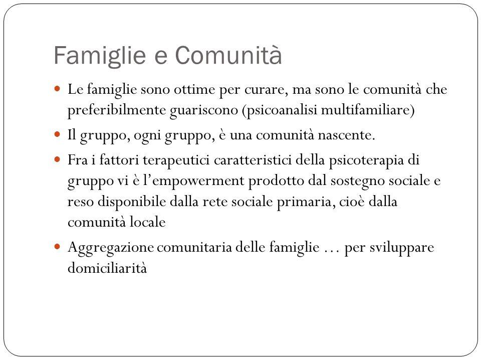 Famiglie e Comunità Le famiglie sono ottime per curare, ma sono le comunità che preferibilmente guariscono (psicoanalisi multifamiliare) Il gruppo, ogni gruppo, è una comunità nascente.