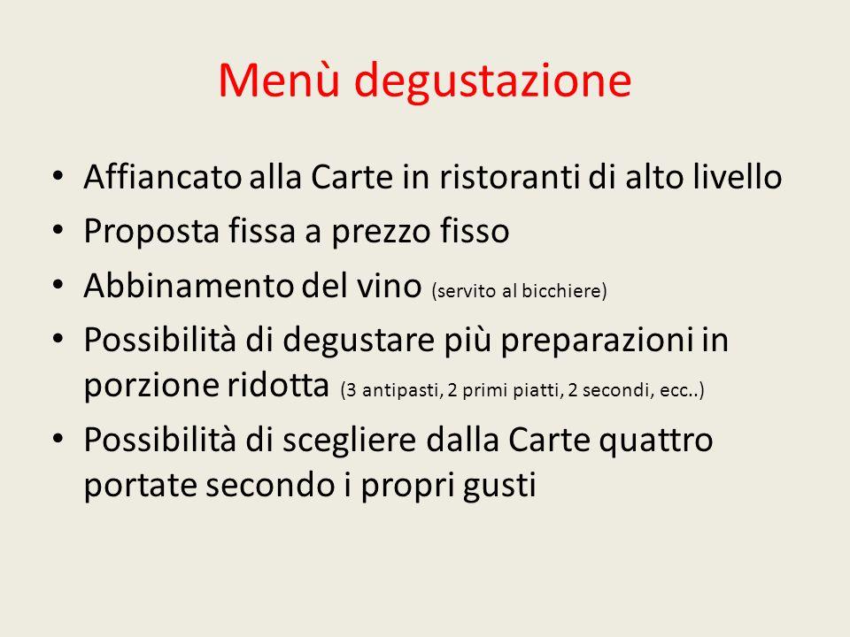 Menù degustazione Affiancato alla Carte in ristoranti di alto livello Proposta fissa a prezzo fisso Abbinamento del vino (servito al bicchiere) Possib