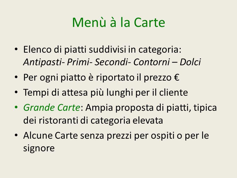 Menù à la Carte Elenco di piatti suddivisi in categoria: Antipasti- Primi- Secondi- Contorni – Dolci Per ogni piatto è riportato il prezzo Tempi di at