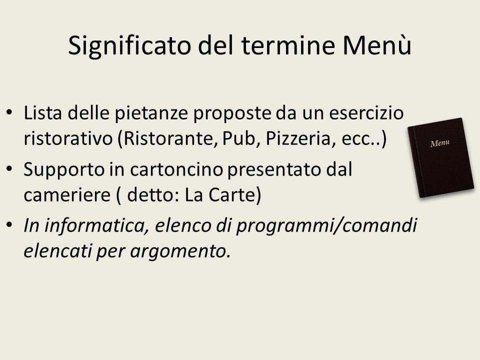 Significato del termine Menù Lista delle pietanze proposte da un esercizio ristorativo (Ristorante, Pub, Pizzeria, ecc..) Supporto in cartoncino prese
