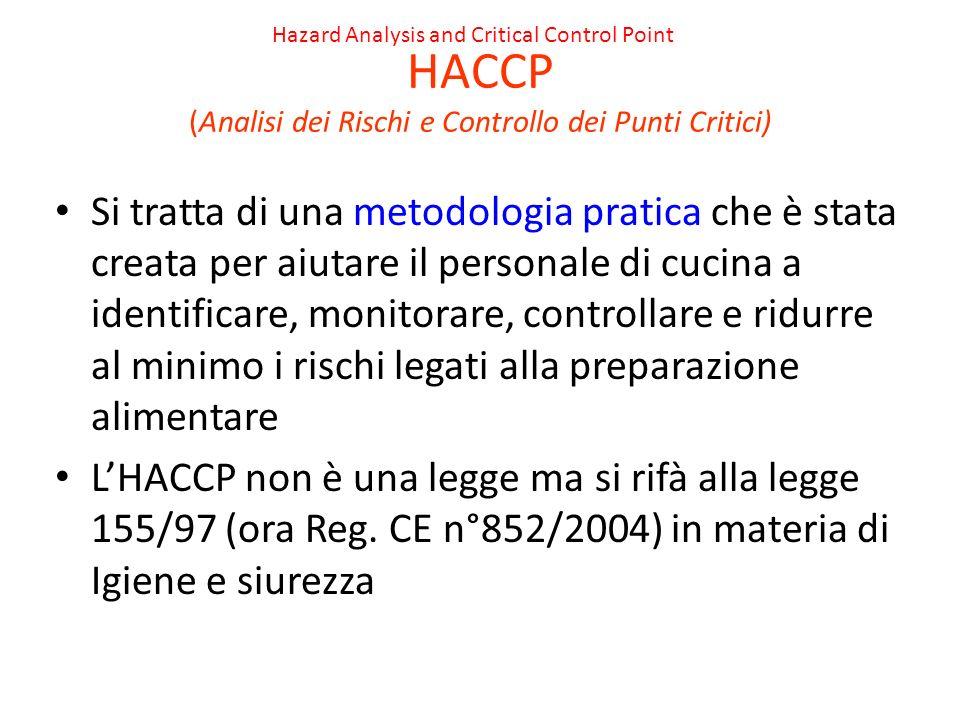 HACCP (Analisi dei Rischi e Controllo dei Punti Critici) Si tratta di una metodologia pratica che è stata creata per aiutare il personale di cucina a identificare, monitorare, controllare e ridurre al minimo i rischi legati alla preparazione alimentare LHACCP non è una legge ma si rifà alla legge 155/97 (ora Reg.