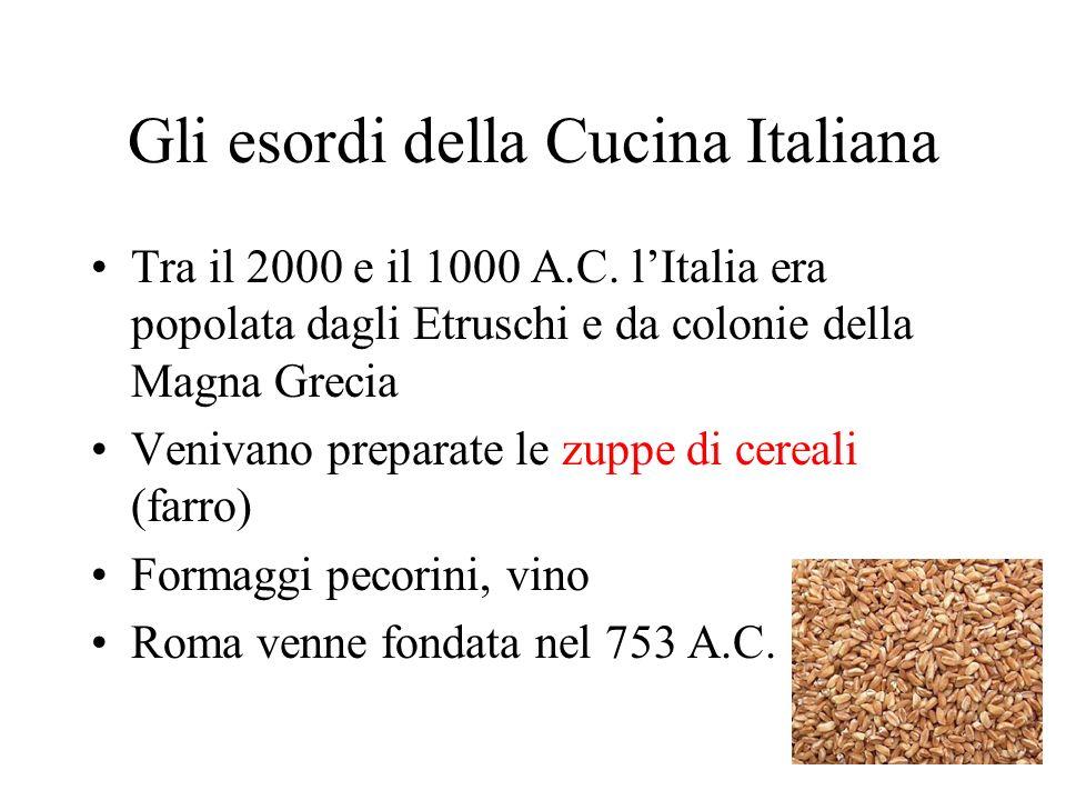 Gli esordi della Cucina Italiana Tra il 2000 e il 1000 A.C. lItalia era popolata dagli Etruschi e da colonie della Magna Grecia Venivano preparate le