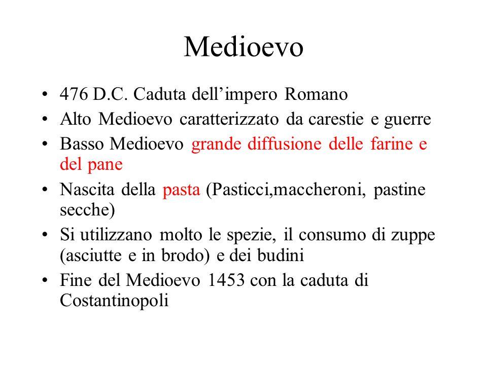 Medioevo 476 D.C. Caduta dellimpero Romano Alto Medioevo caratterizzato da carestie e guerre Basso Medioevo grande diffusione delle farine e del pane