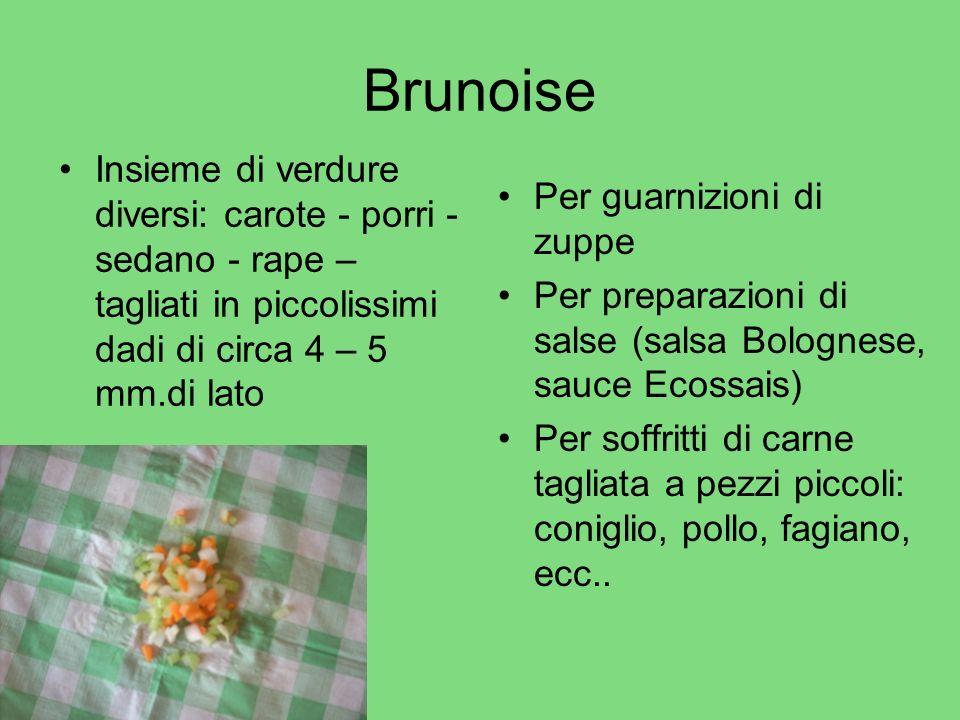 Brunoise Insieme di verdure diversi: carote - porri - sedano - rape – tagliati in piccolissimi dadi di circa 4 – 5 mm.di lato Per guarnizioni di zuppe