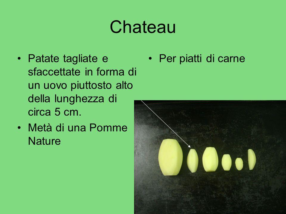 Chateau Patate tagliate e sfaccettate in forma di un uovo piuttosto alto della lunghezza di circa 5 cm. Metà di una Pomme Nature Per piatti di carne