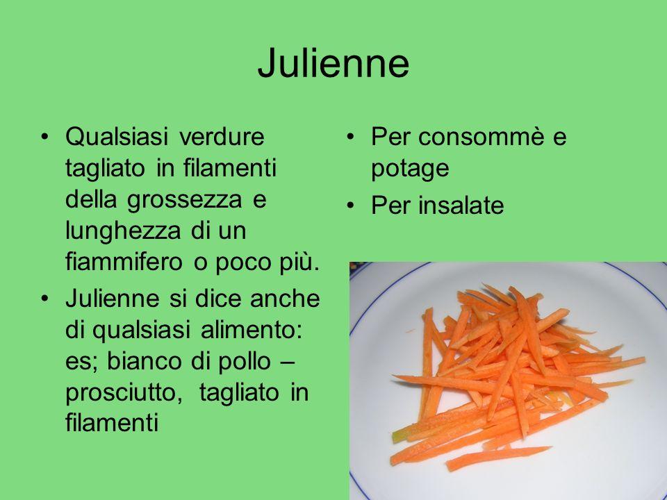Julienne Qualsiasi verdure tagliato in filamenti della grossezza e lunghezza di un fiammifero o poco più. Julienne si dice anche di qualsiasi alimento