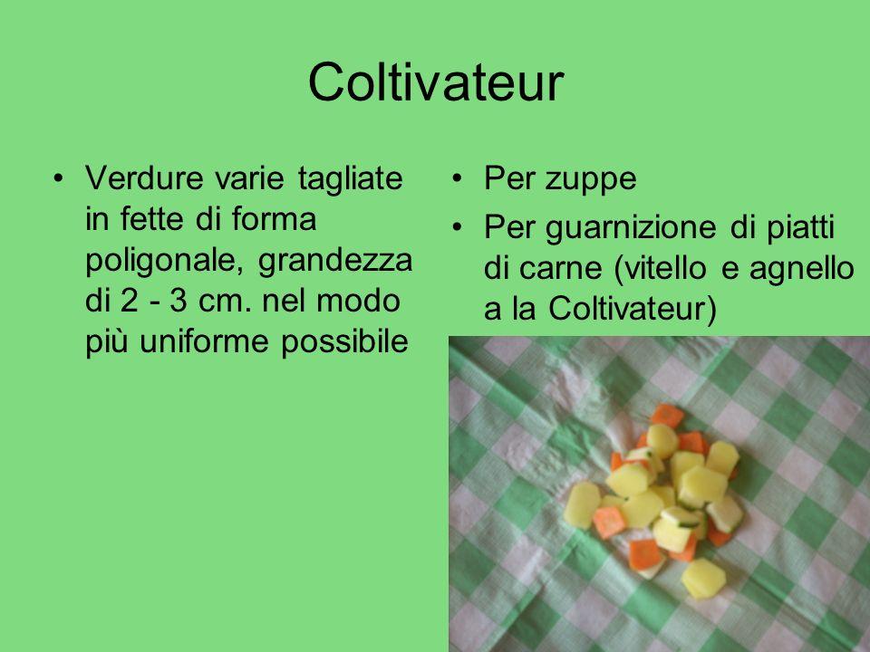 Coltivateur Verdure varie tagliate in fette di forma poligonale, grandezza di 2 - 3 cm. nel modo più uniforme possibile Per zuppe Per guarnizione di p