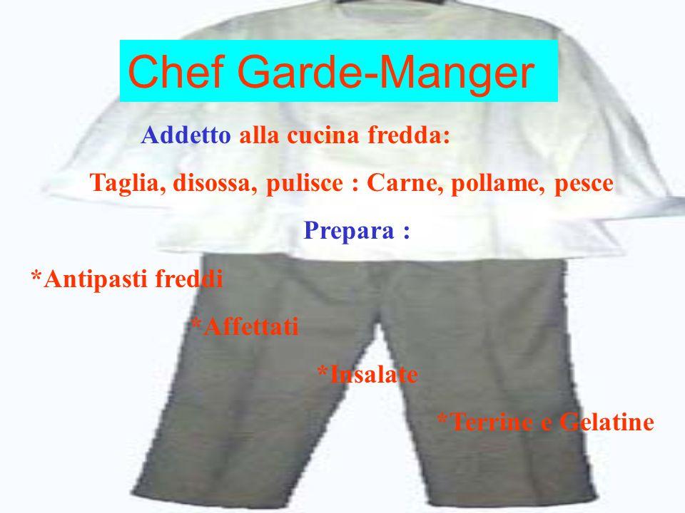 Chef Garde-Manger Addetto alla cucina fredda: Taglia, disossa, pulisce : Carne, pollame, pesce Prepara : *Antipasti freddi *Affettati *Insalate *Terri