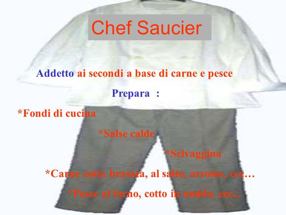 Chef rotisseur Addetto alle grigliate e alle fritture, lavora in collaborazione con lo chef Saucier Prepara : *Carne & pesce alla griglia *Carne & pesce fritta *Carni allo spiedo *Fritture