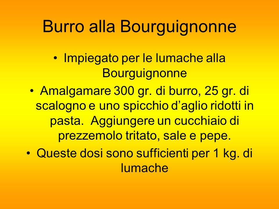 Burro alla Bourguignonne Impiegato per le lumache alla Bourguignonne Amalgamare 300 gr. di burro, 25 gr. di scalogno e uno spicchio daglio ridotti in