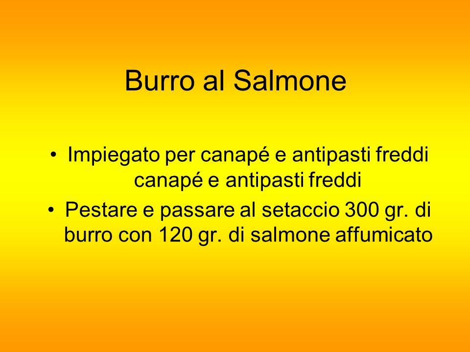Burro al Salmone Impiegato per canapé e antipasti freddi canapé e antipasti freddi Pestare e passare al setaccio 300 gr. di burro con 120 gr. di salmo