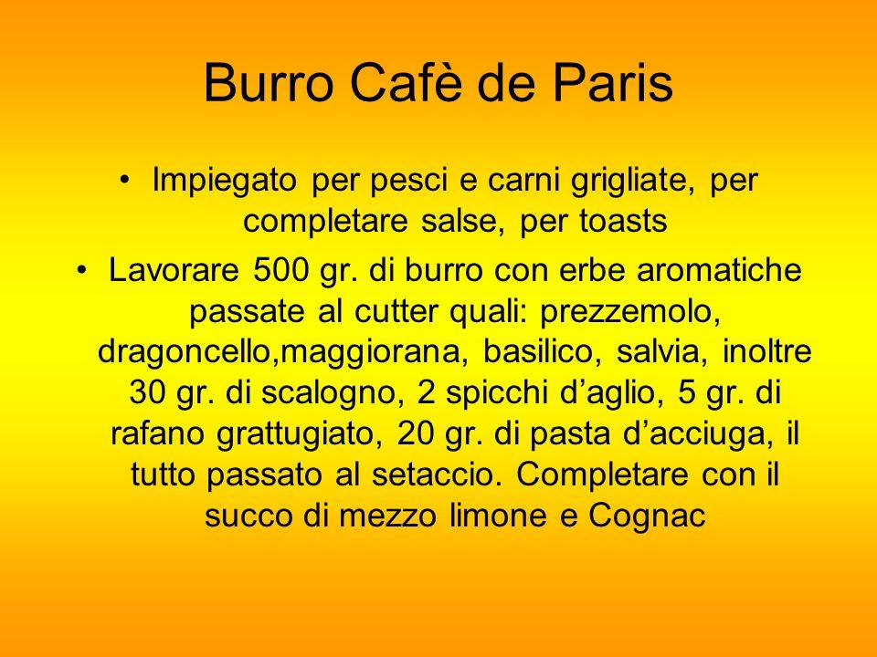 Burro Cafè de Paris Impiegato per pesci e carni grigliate, per completare salse, per toasts Lavorare 500 gr. di burro con erbe aromatiche passate al c