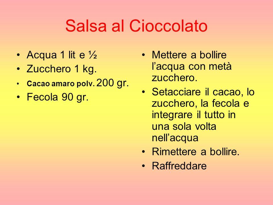 Salsa al Cioccolato Acqua 1 lit e ½ Zucchero 1 kg.