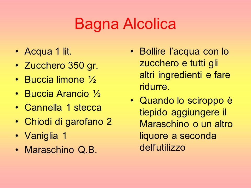 Bagna Alcolica Acqua 1 lit.Zucchero 350 gr.