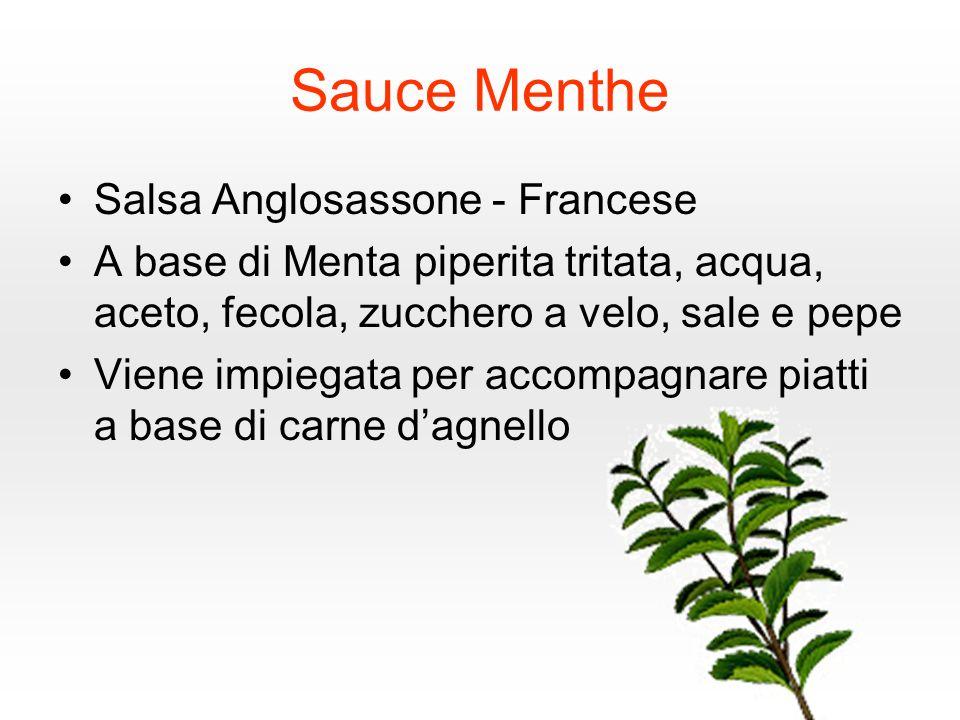 Sauce Menthe Salsa Anglosassone - Francese A base di Menta piperita tritata, acqua, aceto, fecola, zucchero a velo, sale e pepe Viene impiegata per accompagnare piatti a base di carne dagnello