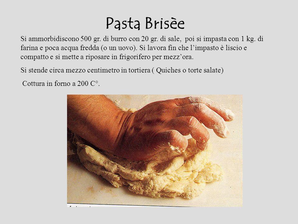 Pasta Brisèe Si ammorbidiscono 500 gr. di burro con 20 gr. di sale, poi si impasta con 1 kg. di farina e poca acqua fredda (o un uovo). Si lavora fin
