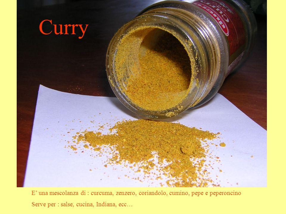 Curry E una mescolanza di : curcuma, zenzero, coriandolo, cumino, pepe e peperoncino Serve per : salse, cucina, Indiana, ecc…