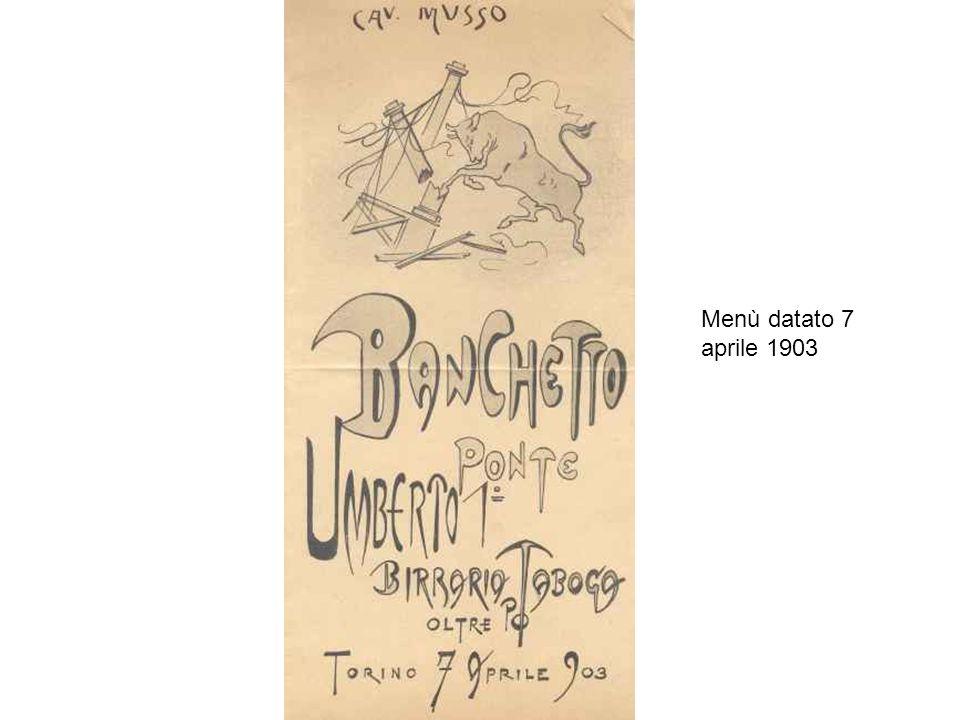 Menù datato 7 aprile 1903