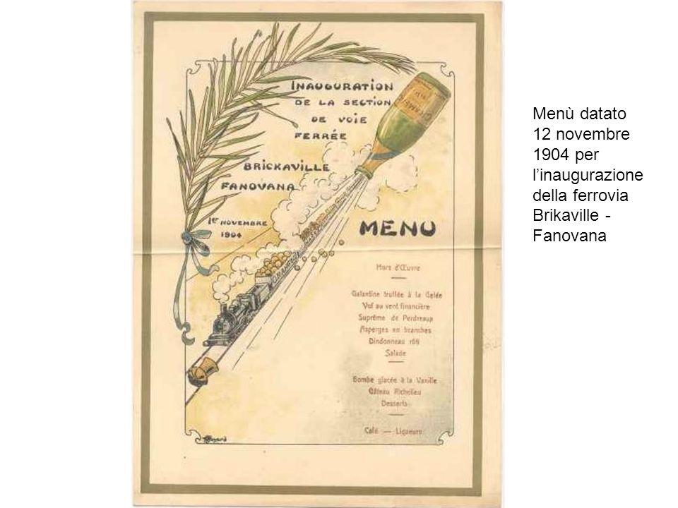 Menù datato 12 novembre 1904 per linaugurazione della ferrovia Brikaville - Fanovana