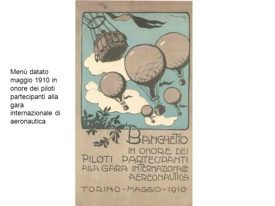 Menù datato maggio 1910 in onore dei piloti partecipanti alla gara internazionale di aeronautica