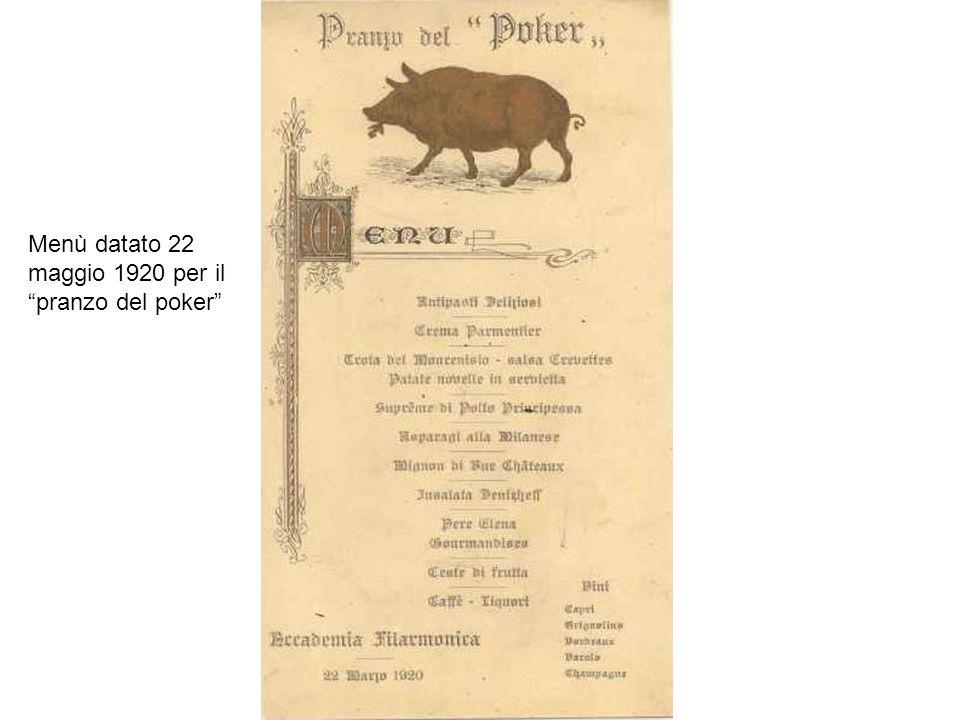 Menù datato 22 maggio 1920 per il pranzo del poker