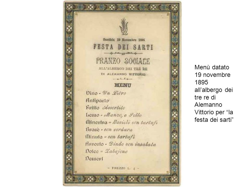 Menù datato 19 novembre 1895 allalbergo dei tre re di Alemanno Vittorio per la festa dei sarti