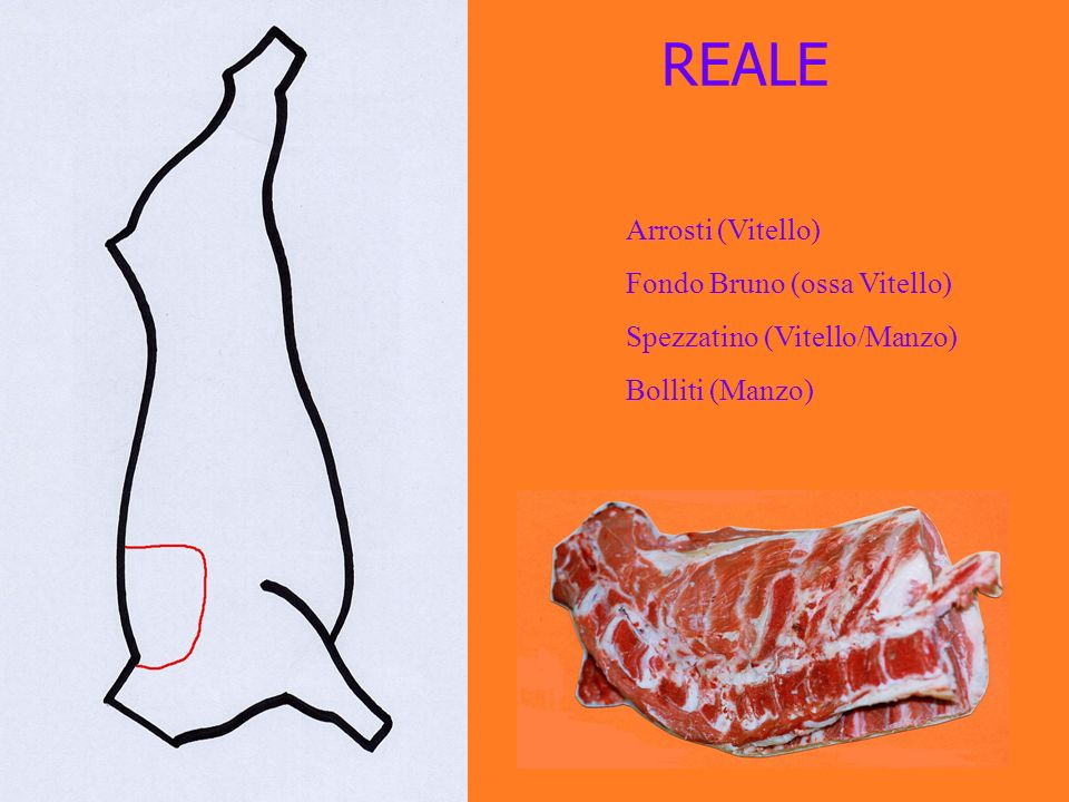 REALE Arrosti (Vitello) Fondo Bruno (ossa Vitello) Spezzatino (Vitello/Manzo) Bolliti (Manzo)