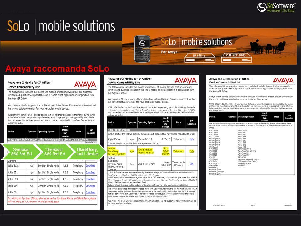 Avaya raccomanda SoLo Symbian S60 3rd Ed Symbian S60 5rd Ed BlackBerry, tutti i device