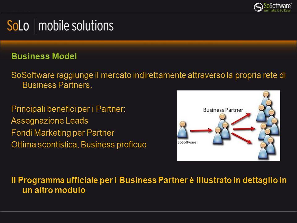 Business Model SoSoftware raggiunge il mercato indirettamente attraverso la propria rete di Business Partners.