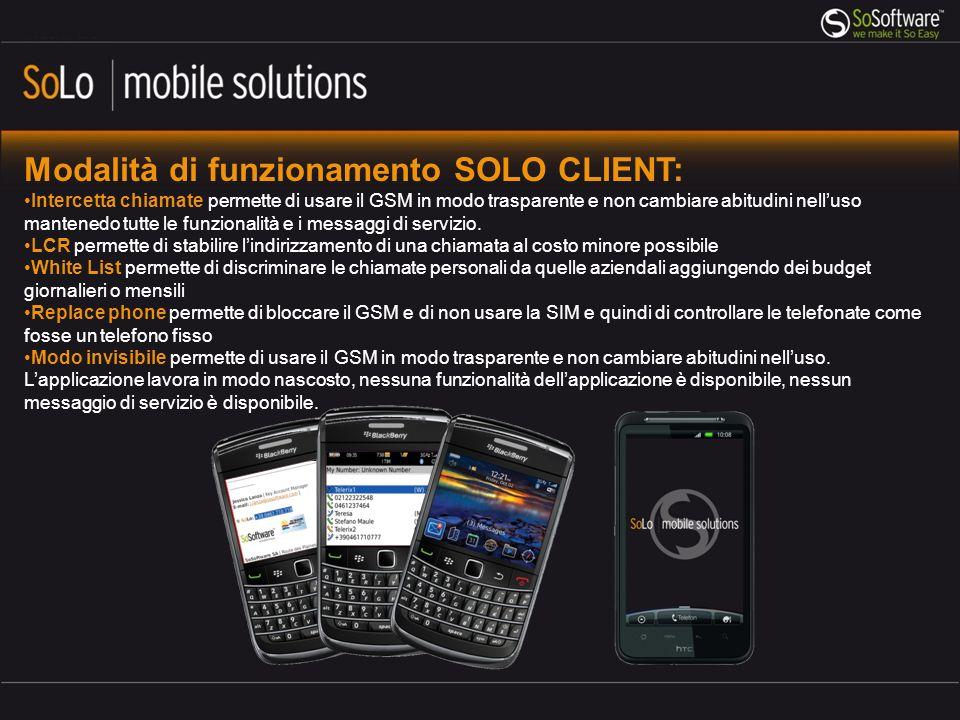 Modalità di funzionamento SOLO CLIENT: Intercetta chiamate permette di usare il GSM in modo trasparente e non cambiare abitudini nelluso mantenedo tutte le funzionalità e i messaggi di servizio.