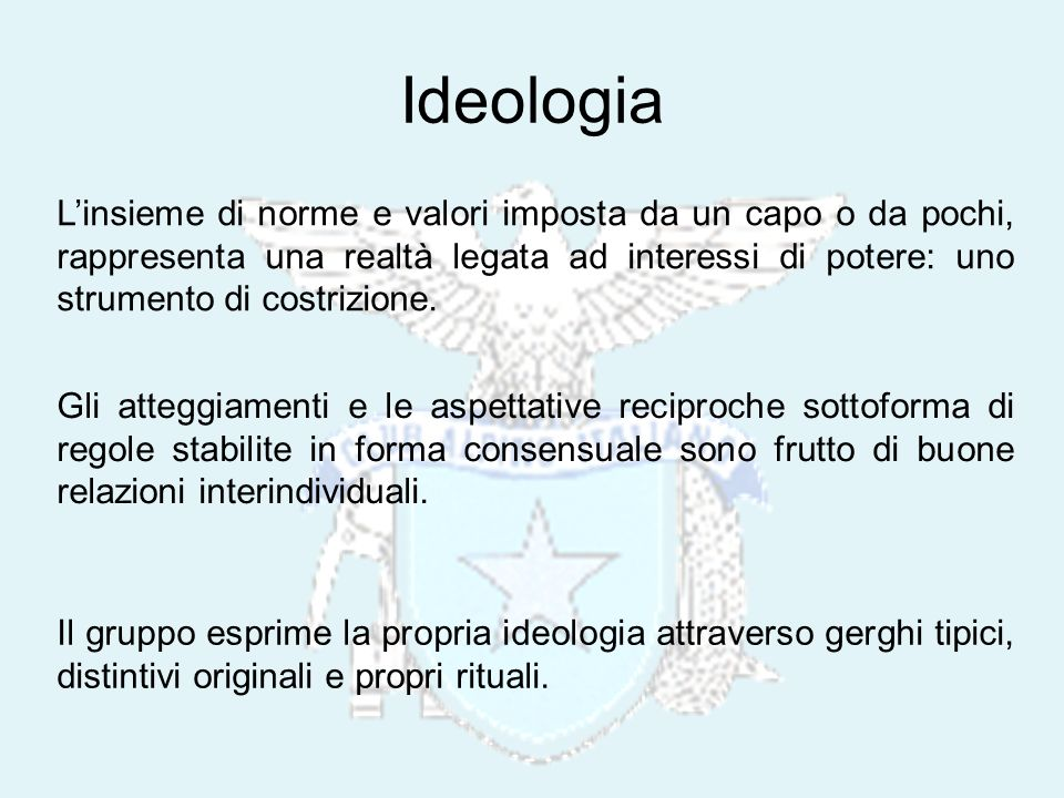 Ideologia Linsieme di norme e valori imposta da un capo o da pochi, rappresenta una realtà legata ad interessi di potere: uno strumento di costrizione