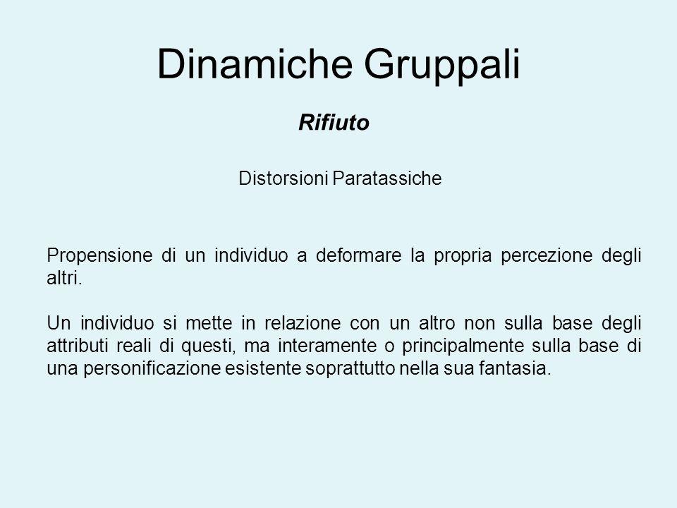 Dinamiche Gruppali Rifiuto Distorsioni Paratassiche Propensione di un individuo a deformare la propria percezione degli altri. Un individuo si mette i