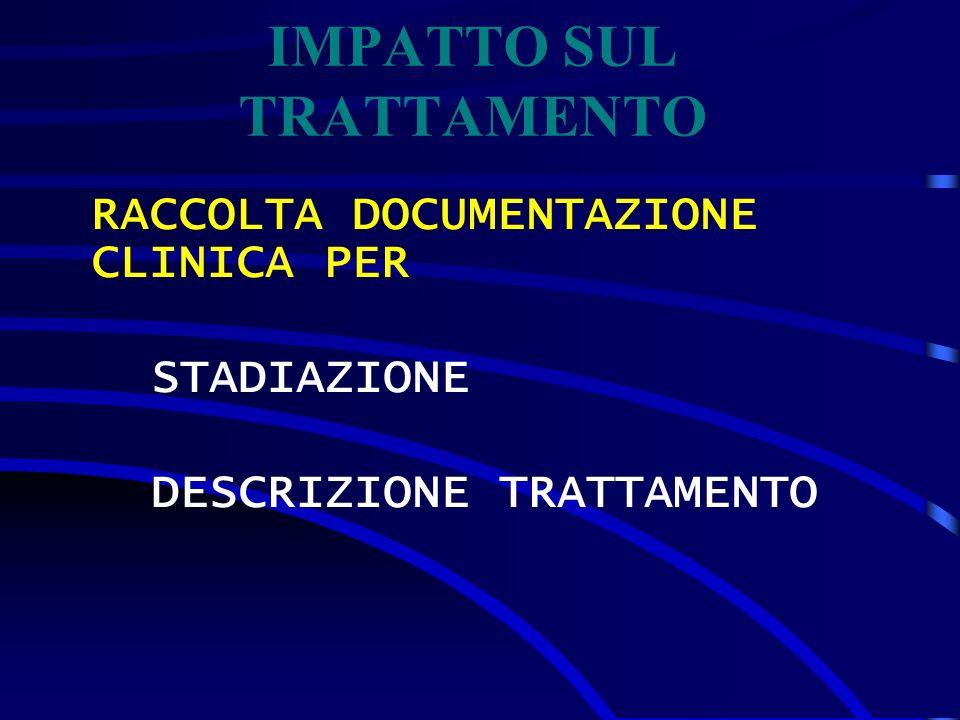 RACCOLTA DOCUMENTAZIONE CLINICA PER STADIAZIONE DESCRIZIONE TRATTAMENTO IMPATTO SUL TRATTAMENTO