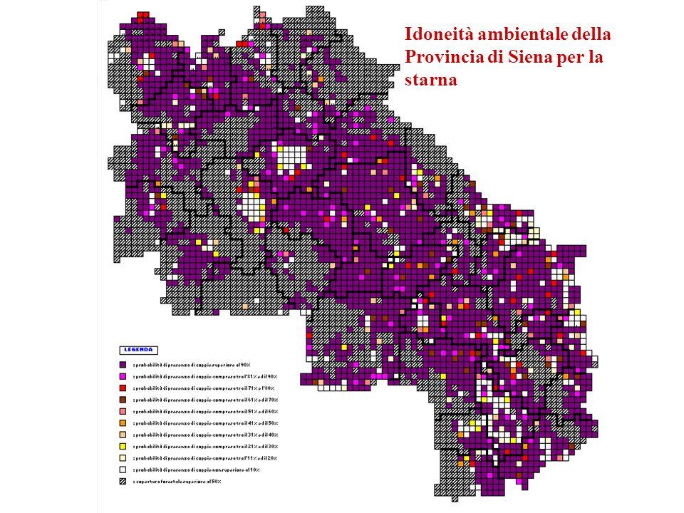 Idoneità ambientale della Provincia di Siena per la starna