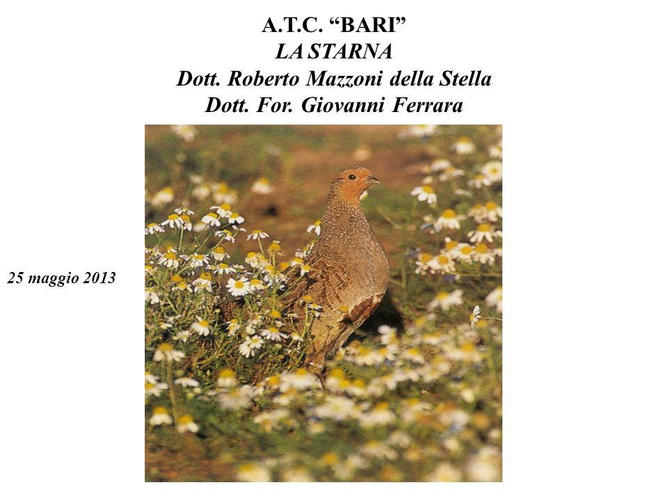 A.T.C. BARI LA STARNA Dott. Roberto Mazzoni della Stella Dott. For. Giovanni Ferrara 25 maggio 2013