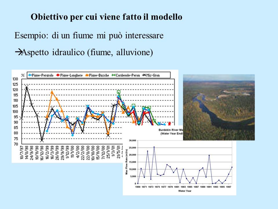 Obiettivo per cui viene fatto il modello Esempio: di un fiume mi può interessare Aspetto idraulico (fiume, alluvione)