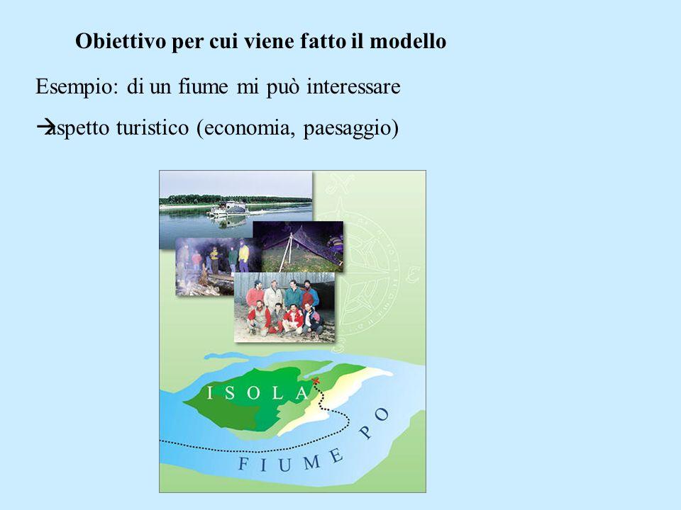 Obiettivo per cui viene fatto il modello Esempio: di un fiume mi può interessare aspetto qualità dellacqua (inquinanti, stato flora/fauna)
