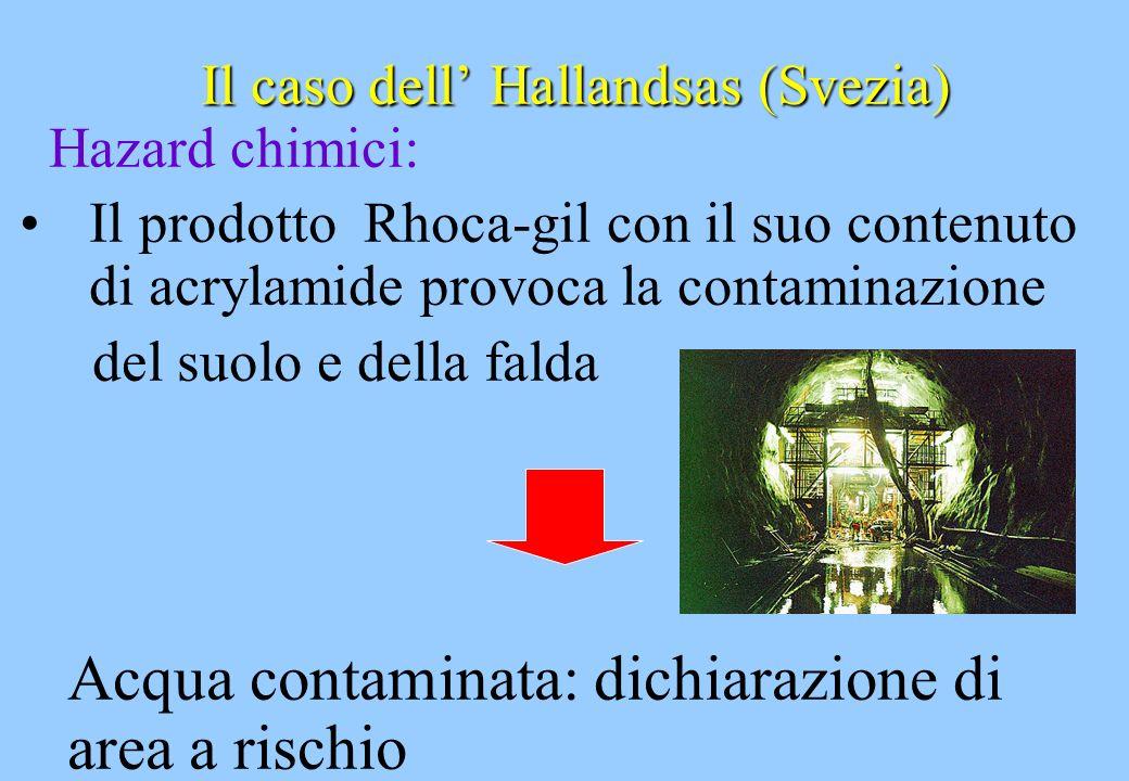 Il caso dell Hallandsas (Svezia) Hazard chimici: Il prodotto Rhoca-gil con il suo contenuto di acrylamide provoca la contaminazione del suolo e della